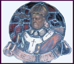Stained glass medallion of Archbishop Polding